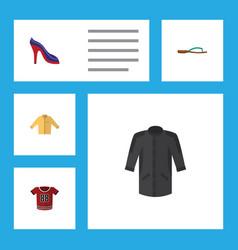Flat icon dress set of heeled shoe t-shirt beach vector