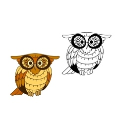Funny creech owl with yellow and brown plumage vector