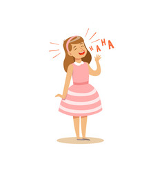 Girl in a pink dress laughing out loud colorful vector