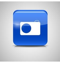 Glass photo button icon vector