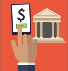 hand touch smartphone pay online bank vector image