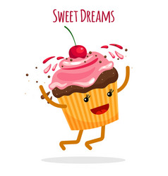 Happy cupcake charcter card vector