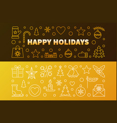 happy holidays golden outline banners set vector image