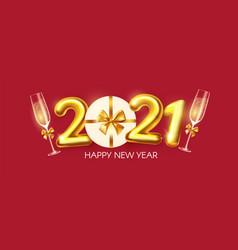 happy new 2021 year party poster template with 3d vector image