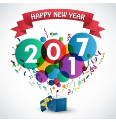 Happy new Year 2017 celebration with gift box vector image