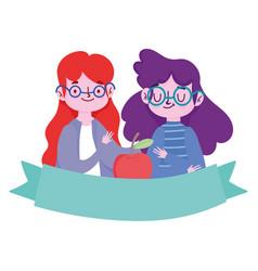 happy teachers day teacher and student girl vector image