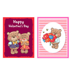 happy valentines day poster set teddy with bouquet vector image