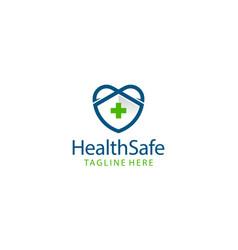 health safe medical logo design concept vector image