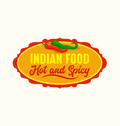 Indian restaurant icon emblem with red and green vector