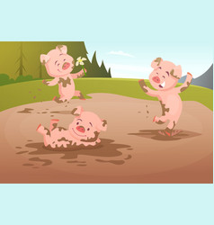 Kids pigs playing in dirty puddle vector