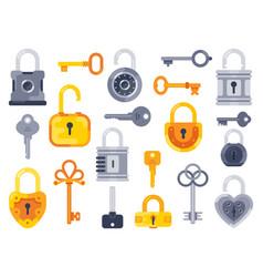 lock with keys golden key access padlock vector image