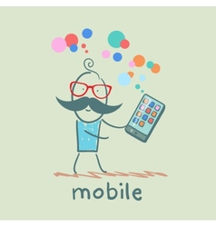 man holds the best mobile vector image