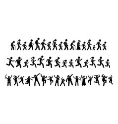 Many people walking running and dancing together vector