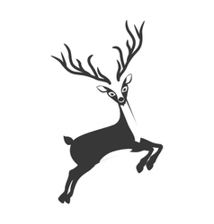 Monochrome silhouette with reindeer jumping vector