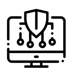 Personal computer protection icon outline vector