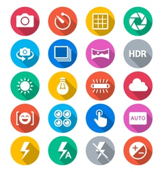Photography flat color icons vector image