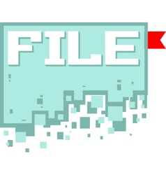 pixel art file icon with red vector image