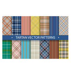 plaid pattern seamless ornate set tartan vector image