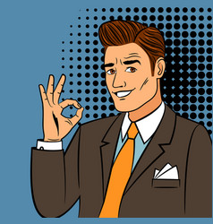 Pop art man showing okay sign vector