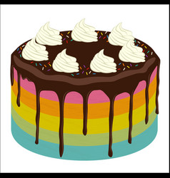 rainbow birthday cake image vector image