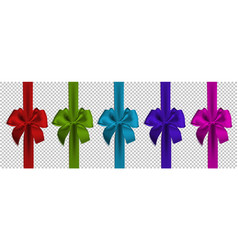 realistic colors bow and ribbon isolated vector image