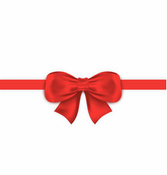 realistic red gift bow with horizontal ribbon vector image