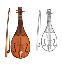 Rebec musical instrument sketch of arab music vector
