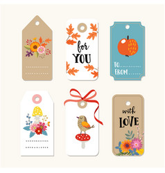 Retro set of cute autumn fall gift tags and vector