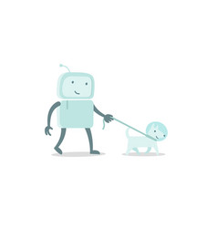 Robot character astronaut man walk with dog on a vector