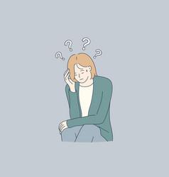 Sadness mental depression doubt concept vector