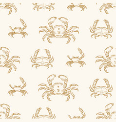 sea crabs seamless pattern underwater vector image
