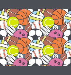 Seamless pattern with collection of sports balls vector