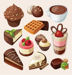 Set of chocolate sweets cakes and other food vector