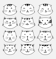 set of cute cat sticker vector image