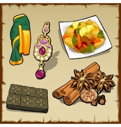 Set of exotic items food and spices vector