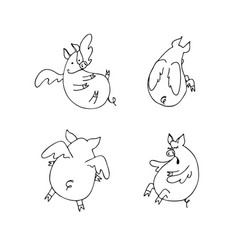 set of funny flying cartoon pigs with wings vector image