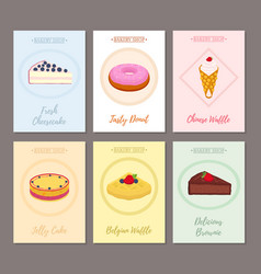 set of pastry posters banners for sweet food vector image