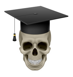 Skull with cap graduate on white background vector