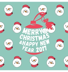Snowman seamless pattern with merry christmas text vector image