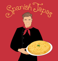Spanish tapas handsome spanish chef holding a vector