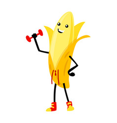 Sport banana character with dumbbell funny fruit vector