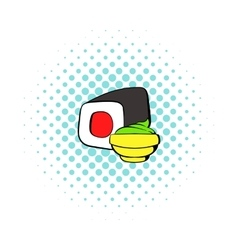 Sushi roll icon comics style vector image