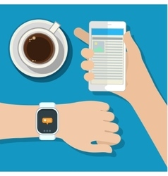 Synchronization between smartwatch and smartphone vector image