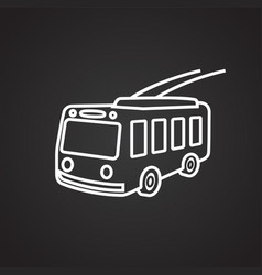 Trolley bus thin line on black background vector
