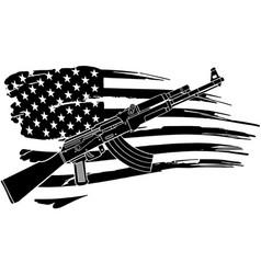 Usa flag with an ak 47 rifle vector