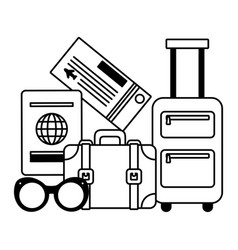 vacations suitcase passport sunglasses ticket vector image