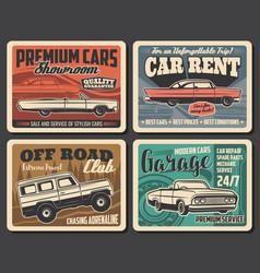 Vintage cars service rental auto repair garage vector