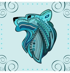 Vintage wolf head ethnic color pattern hand draw vector