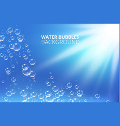 water bubbles against blue wave background vector image