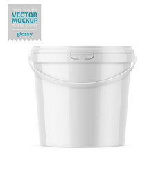 White glossy plastic bucket mockup template vector